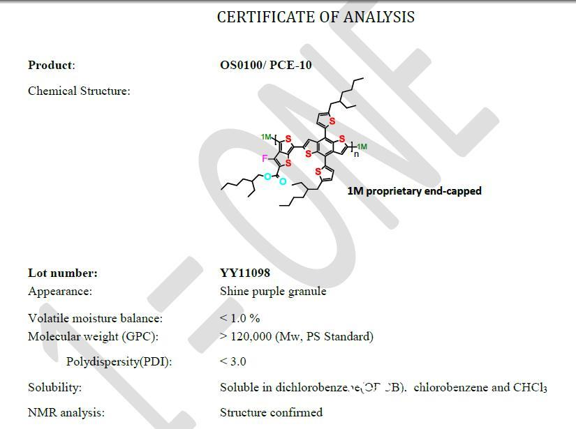 加拿大1-Material有機給受體PCE-10 PTB-Th